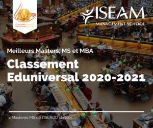Classement Eduniversal 2021 des meilleurs masters, MS et MBA